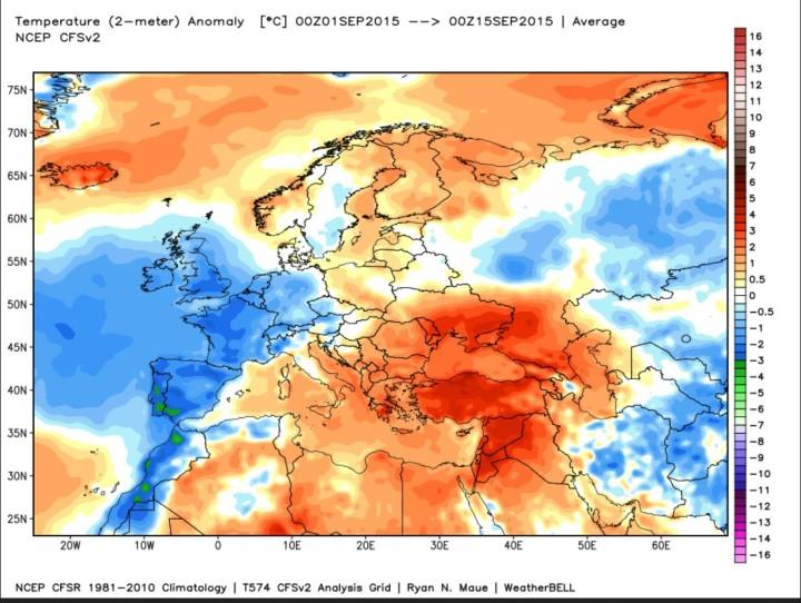Die Analyse der T-Abweichungen (2m) zum international üblichen modernen WM-Klimamittel 1961-2010 für die ersten beiden Septemberwochen 2015 in Europa. Neben Deutchland sind auch weoite Tele West- und Südwesteuropas unterkühlt in den Hernst 2015 gestartet, während vor allem Südosteuropa noch sommerliche Temperaturen aufweist. Quelle: