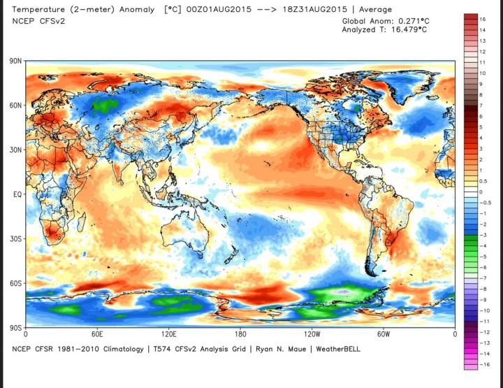 Die Abweichung der globalen Durchschnittstemperatur (2m) im Juli 2015 beträgt 0,271 K zum WMO-Klimamittel 1981-2010 (Rang 3/4 von 37 Jahren, Vormonat 0,115). Quelle: wie oben