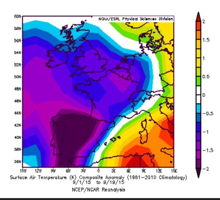 NOAA-Reanalyse der Temperaturabweichungen(2m) in Westeuropa vom 1. bis 19. September 2015. Die lila/blauen Farben zeigen die teils kräfigen kalten T-Abweichungen zum international üblichen modernen Klimamittel 1981-2010 in West- und Südwesteuropa sowie größtenteil auch in Deutschland. Quelle: