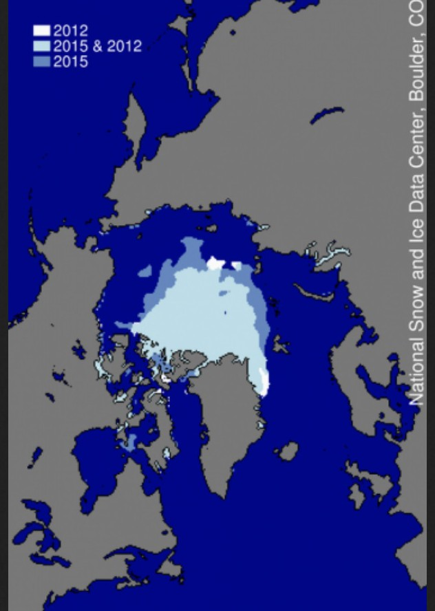 Figure 3. This image compares differences in ice-covered areas between September 11, 2015 and September 17, 2012, the record low minimum extent. Light blue shading indicates the region where ice occurred in both 2015 and 2012, while white and medium blue areas show ice cover unique to 2012 and to 2015, respectively... Quelle: