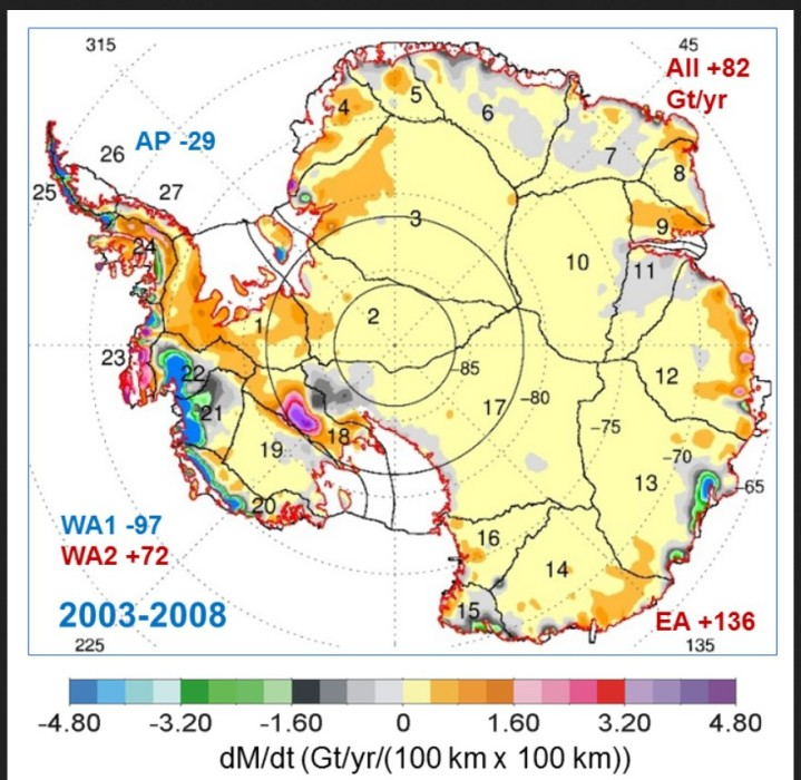 Map showing the rates of mass changes from ICESat 2003-2008 over Antarctica. Sums are for all of Antarctica: East Antarctica (EA, 2-17); interior West Antarctica (WA2, 1, 18, 19, and 23); coastal West Antarctica (WA1, 20-21); and the Antarctic Peninsula (24-27). A gigaton (Gt) corresponds to a billion metric tons, or 1.1 billion U.S. tons. Credits: Jay Zwally/ Journal of Glaciology. Quelle: wie oben