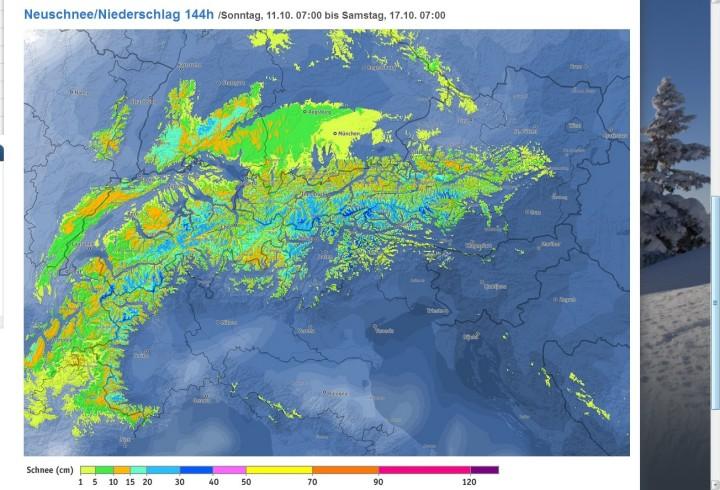Bergfex-Schneeprognose vom 11. bis 17. Oktober 2015 mit bis zu 30 cm Schnee auch in den süddeutschen Mittelgebirgen. Quelle: