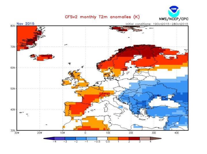 NOAA-CFSv2-Peognose der Temperaturabweichungen (2m) für Europa im November 2015. Deutxchland liegt überwiegend im (weißen) durchschnittlichen Bereich. Quelle: