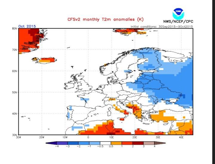 CFSv2-Prognose vom 11.10.2015 für die Temperaturabweichungen (2m) in Europa im Oktober 2015. Quelle: