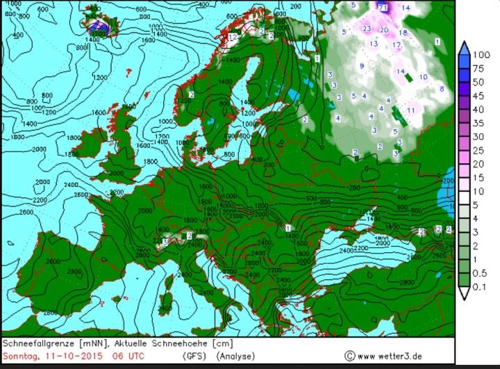 Die GFS-Analyse der Schneehöhen in cm in Europa am 11. Oktober 2015.