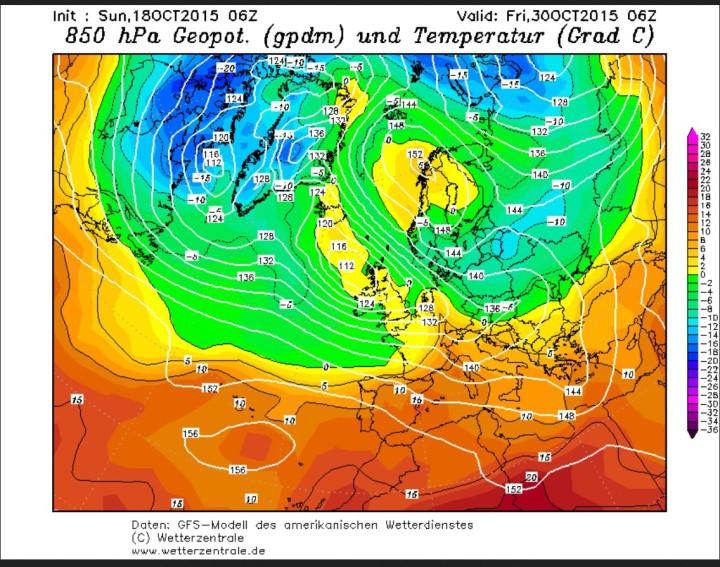 GFS-Prognose vom 18. Oktober für den 30. Oktober mit frostiger GWL in 850 hPa (rund 1500 m) über Nordostdeutschland. Quelle: wie vor
