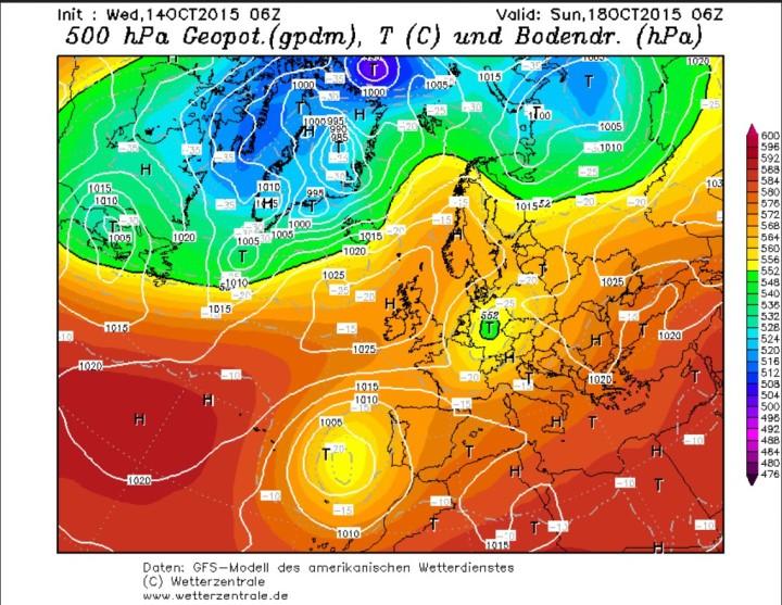 GFS-Prognose vom 14. für den 18. Oktober 2015 mit dem ausdauernden kleinen, aber wetterwirksamen kalten (Schnee-) Höhentief (grüner Kreis) über Deutschland. Quelle: