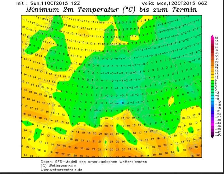 GFS-Prognoser vom 11.102015 für Nachtfrost am 12. Okrober 2015 - nixcht nur - in Deutschland. Quelle: