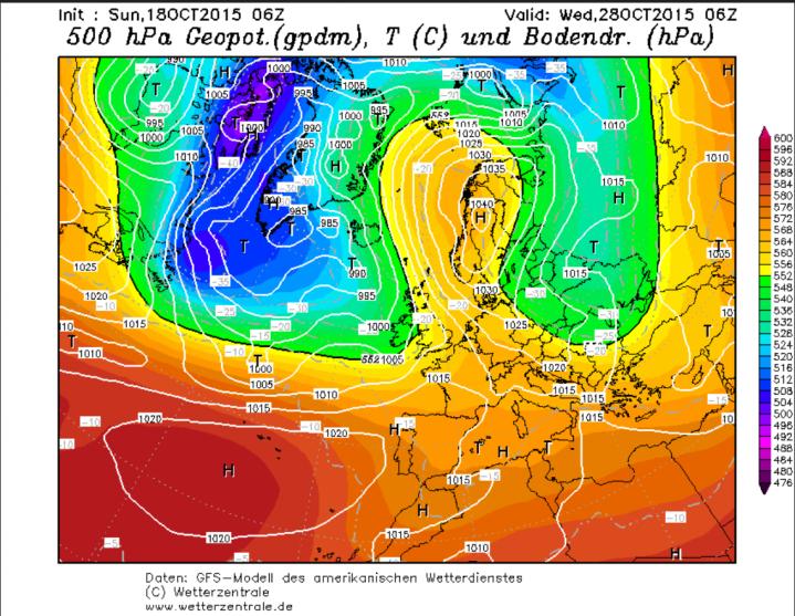GFS-Prtognose vom 18. Oktober für eine Omega-Wetterlage am 28. Oktober 2015 mit kräftigem Hoch über Skandnavien und zwei ebenfalls kräftigen Tiefs ünber dem Nordatlantik und über Osteuropa. Quelle: wie vor