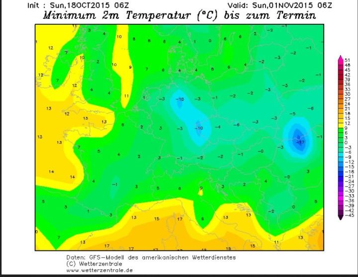 GFS-Prognose für die Tmin (2 m) vom 18. Oktober für die Nacht zum 1. November 2015 bis zu -10°C in Deutschland. Quelle: