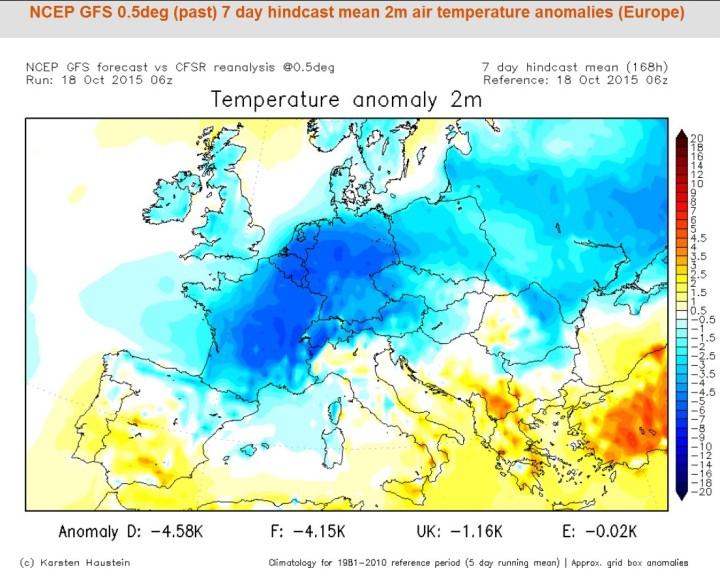 Analyse der T-Abweichungen zum international üblichen modernen WMO-Klimamittel 1981-2010 vom 18.10.2015 für die letzten sieben Tage. Die blauen Farben zeigen die verbreitete anhaltende ungewöhnliche und teils historische Kältewelle in großen Teilen Europas Mitte Oktober 2015. Quelle: