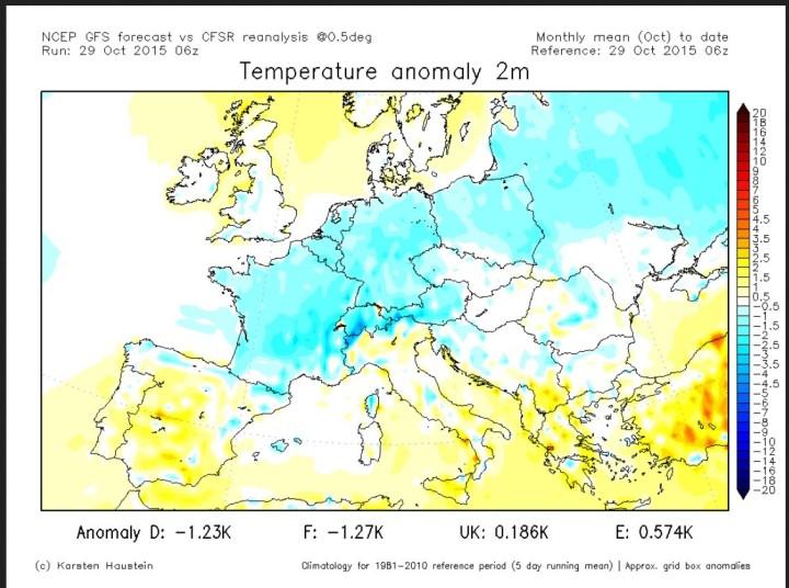 Analyse der Temperaturabweichungen zum international üblichen modernen WMO-Klimamittel 1981-2010 in Europa vom 1. bis 29. Okrober 2015. Große Teile von West-, Mittel- und Osteuropa sind unterkühlt (blaue Fraveb). Quelle: