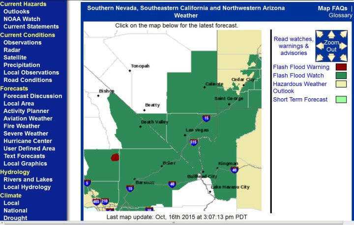 Vorwarnung vor plötzlichen Überschwemmungen für mehrere US-Staaten für das kommende Wochenende. Quelle: