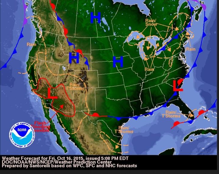 NOAA-Prognose mit der Möglichkeit für plötzliche Übersschwemmungen im Südwesten der USA einschließlich der Mojace-Wüste bum Las Vegas im US-Bundestaat Nevada. Quelle: