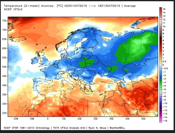 ANALYSE der Temperaturabweichungen in Europa vom 1. bis 13. Okrober 2015. Die blauen und grünen Farben zeigen die verbreitet deutlichen negativen Abweichungen zum international üblichen modernen WMO-Klimamittel 1981-2010. Quelle: