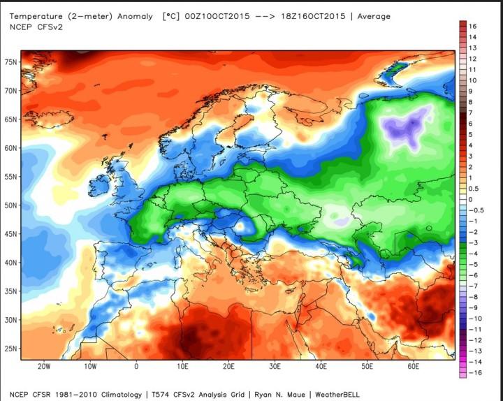 ANALYSE der Abweichungen der 2m-Temperaturen vom international üblichen modernen WMO-Klimamittel 1981-2010 vom 1. bis 16. Oktober 2015 in Europa. Die blauen und grünen Farben zeigen große Teile Europas durch die anhaltende ungewöhnliche teils frühwinterliche Kältewelle mit Schneefällen bis ins Flachland einschließlich Deutschland stark unterkühlt. Quelle: