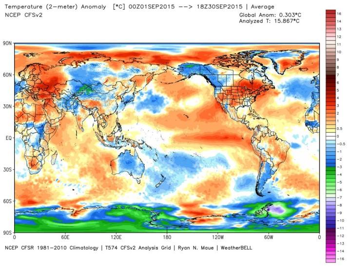 Die Abweichung der globalen Durchschnittstemperatur (2m) im August 2015 beträgt 0,30 K zum international üblichen modernen WMO-Klimamittel 1981-2010 (Rang 3/4 von 37 Jahren, Vormonat 0,27). Quelle: wie oben