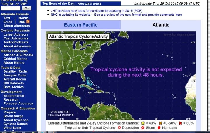 NOAA-Hurrikan-Prognose für die konnenden beiden Tage: Keinerlei Wirbelsturmaktivitäten zu erwarten. Quelle: