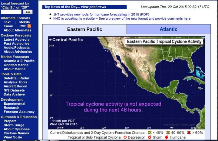 NOAA-Hurrikan-Prognose für die kommnenden beiden Tage im Ostpazifik: Es sind keinerlei TC-Aktivitäten zu erwarten: Quelle: wie vor