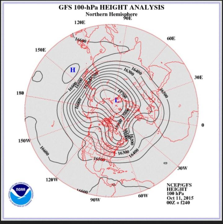NOAA-Stratopsphärenprognose 100 hPa ( ca. 16 000 m) vom 11. 10. für den 21.10.2015 mit ausgeprägtem kalten Trog des arktischen Polarwirbels über großen Teilen Europas. Quelle: