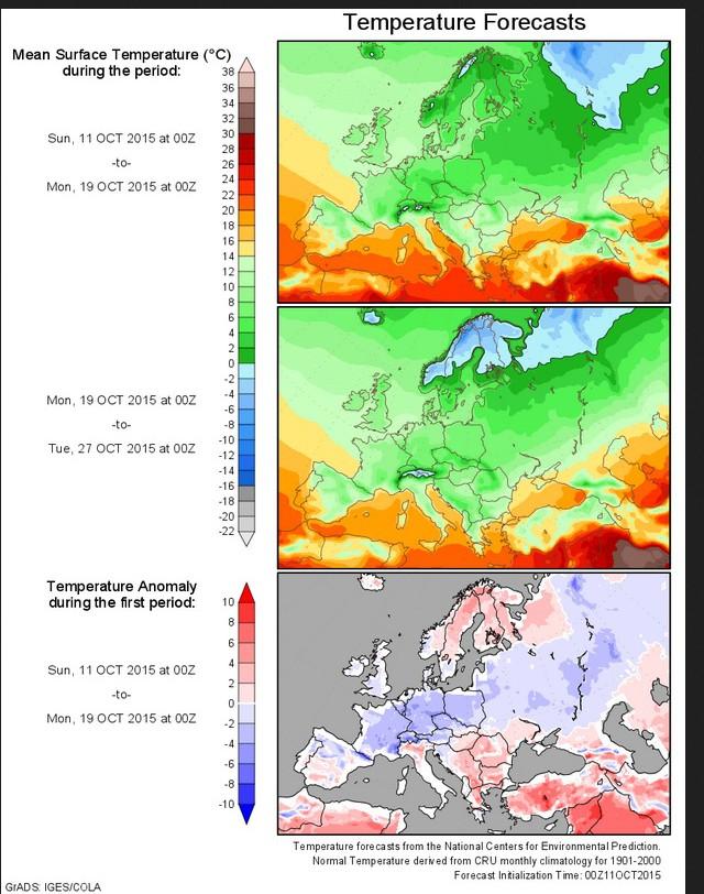 NOAA-NCEP-Temperatur-Prognose (2m) für die Zeit vom 12. bis 26.10.2015. Die Temperaturabweichungen in der unteren Grafik zeigen für Deutschland T-Abweichungen um -3 K zum (kalten) Klimamittel 1901-2000 für die kommende Woche. Quelle: