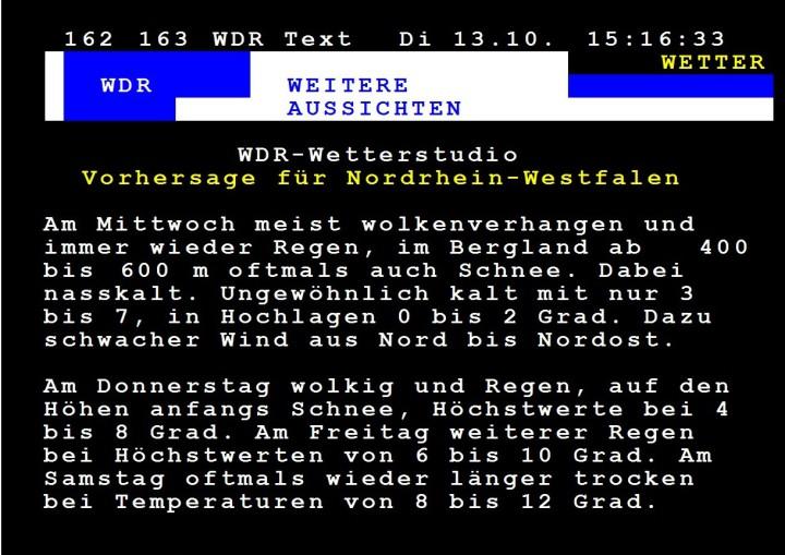 WDR-Wettervorhersage für NRW vom 13. Oktober(!) 2015 für den 14. Oktober 2015: