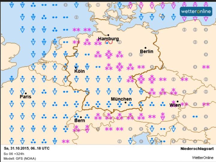 WO/GFS-Niederschlagsprognose vom 18. für den 31. Oktober 2015 mit verbreiteten starken Scheefällen in der Nordosthälfte Deutschland auf der kalten Seite der GWL. Quelle: