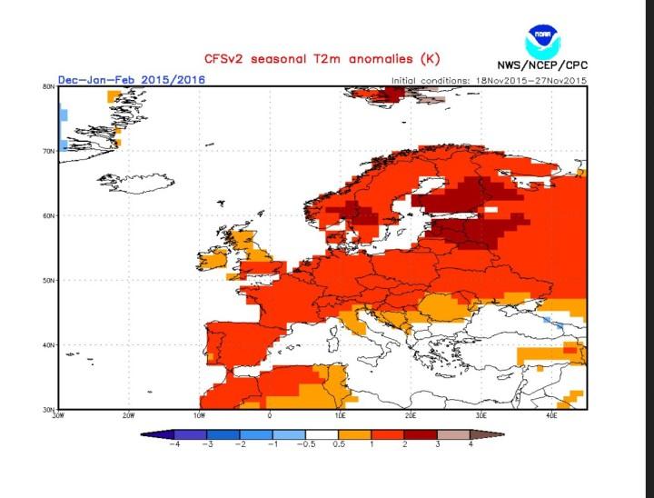 Die NOAA-CFSv2-Prognose für die Abweichungen der Temperaturen für den Winter 2015/2016 in Europa: Die überwiegend roten Farben zeigen positive Abweichungen zum Klimamittel 1999 - 2010. Quelle:
