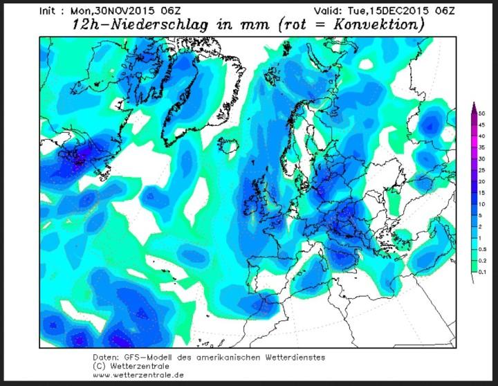 GFS-Prognose vom 30.11. für den Niederschlag am 15.12.2015. Es ist bei 2m-Temperaturen um oder unter 0°C verbreitet mit winterlichen und teils kräftigen Niederschlägen zu rechnen. Quelle: wie vor