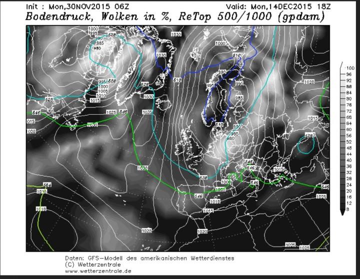 GFS-Prognose der Temperaturen in 500 hPa (rund 5500 m) vom 30.11. für den 14.12.2015 in Europa. Auf der Rückseite eines mächtigen kalten Troges des Polarwirbels über Europa werden in breitem Strom arktische Luftmassen nach Euopa geführt. Quelle: