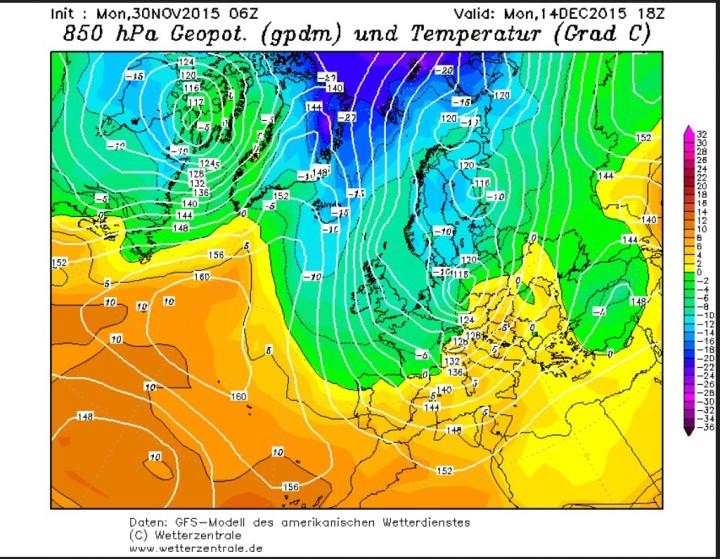 GFS-Prognose der Temperaturen in 850 hPa (rund 1500 m) vom 30.11. für den 14.12.2015 in Europa. Auf der Rückseite eines mächtigen kalten Troges des Polarwirbels über Europa werden in breitem Strom arktische Luftmassen nach Euopa geführt. Quelle: