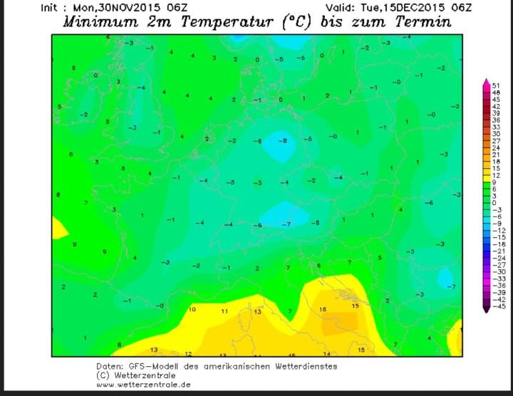 GFS-Prognose der 2m-Tmin vom 30.11. für den 15.12.2015 in Europa. Die Tmin liegen verbreitet um oder unter 0°C. Quelle: wie vor
