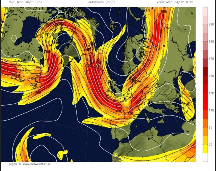 GFS-Polarjet-Prognose in rund 9 km Höhe (300 hPa) für Europa vom 30.11. für den 14.12.2015 mit blockierendem Hoch über dem Nordatlantik und kaltem Trog über Westeuropa.