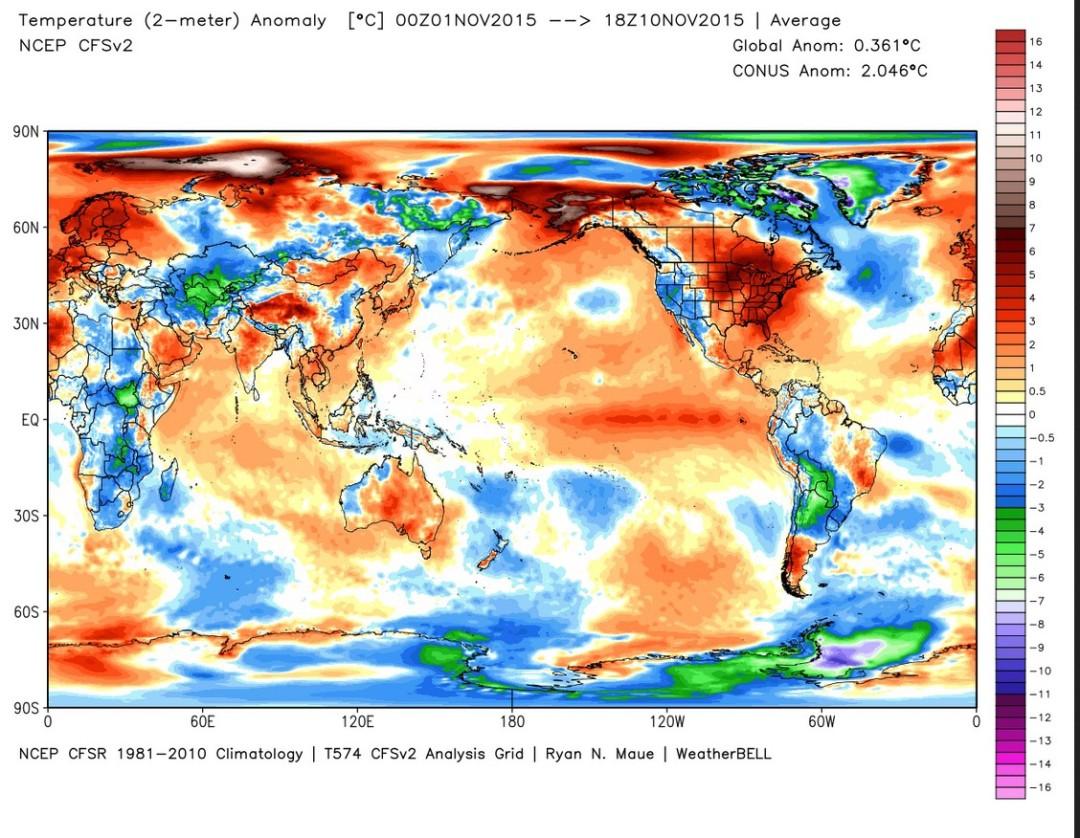 Die Analyse der globalen 2m-Temperaturen zeigt von 1. bis 10. November 2015 eine Abweichung von 0,361 K zum international üblichen modernen WMO-Klimamittel 1981-2010. Quelle: