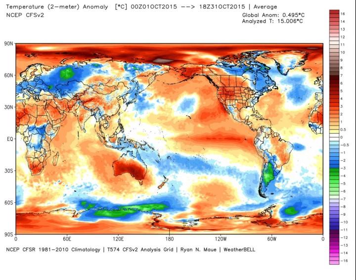 Die Abweichung der globalen Durchschnittstemperatur (2m) im August 2015 beträgt 0,27 K zum international üblichen modernen WMO-Klimamittel 1981-2010 (Rang 3/4 (zusammen mit 2005) von 37 Jahren, Vormonat 0,27). Quelle: wie oben