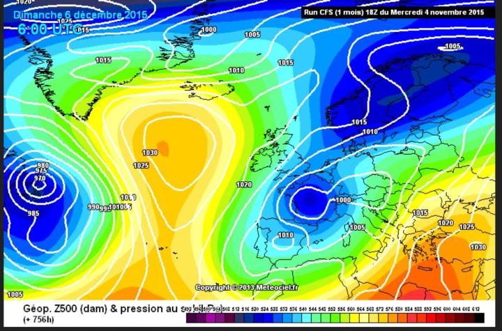 CFSv2-Prognose des Luftdrucks vom 4. November für den 6. Dezember (Nikolaustag) 2015 zur x-ten Weltklimakonferenz in Paris. Ein Schneetief liegt mitten über Frankreich, mit verbreiteten Schneefällen ist zu rechnen. Quelle: