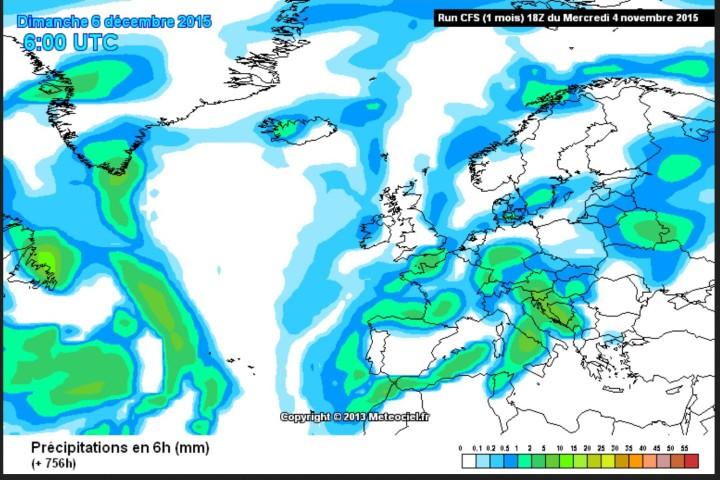 CFSv2-Prognose der Niederschläge vom 4. November für den 6. Dezember (Nikolaustag) 2015 zur x-ten Weltklimakonferenz in Paris. Ein Schneetief liegt mitten über Frankreich, bei 2m-Temperaturen um 0°C ist mit verbreiteten Schneefällen zu rechnen. Quelle: