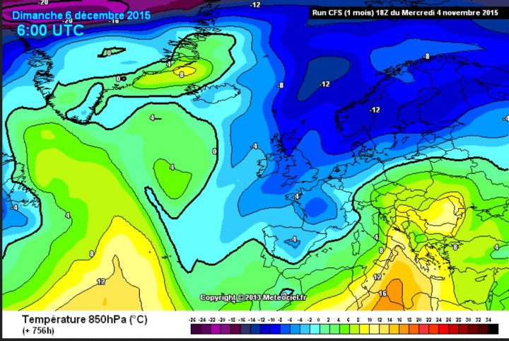 CFSv2-Prognose des Temperaturabweichung in 850hPa (rund 1500 m)  vom 4. November für den 6. Dezember (Nikolaustag) 2015 zur x-ten Weltklimakonferenz in Paris. Ein kaltes Schneetief liegt mitten über Frankreich, mit verbreiteten Schneefällen ist zu rechnen. Quelle: