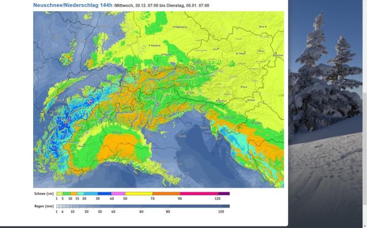 Bergfex-Schneeprognose vom 30.12.2015 bis 5.1.2016. In den kommenden Tagen werden zunehmende und verbreitete Schneefälle erwartet, die in den Westalpen bis zu 70 cm betragen können. Quelle: