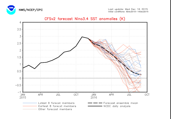 NOAA/CFSv2-ENSO-Prognose vom 16. Dezember 2015 für die Abweichungen der Meeresoberflächentemperatur (SSTA) im maßgeblichen Niño-Gebiet 3.4. Nach dem El Niño-Höhepunkt im November 2015 erreichen die Prognosen ab Sommer La bisher nur in einigen Modellläufen La Niña-Werte ab -0,5 und kälter. Quelle: