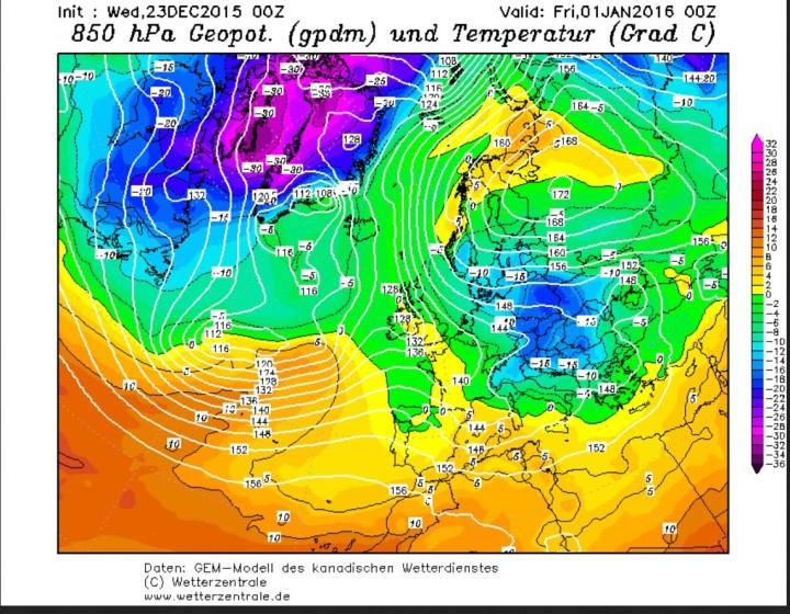 GEM-Prognose der 850 hPa-Temperaturen (1500 m) vom 23.12.2015 für den 2.1.2016. Um ein kräftiges Hochdruckgebiet über Nordrussland wird russische Kaltluft nach Mitteleuropa und Skandinavien gesteuert.