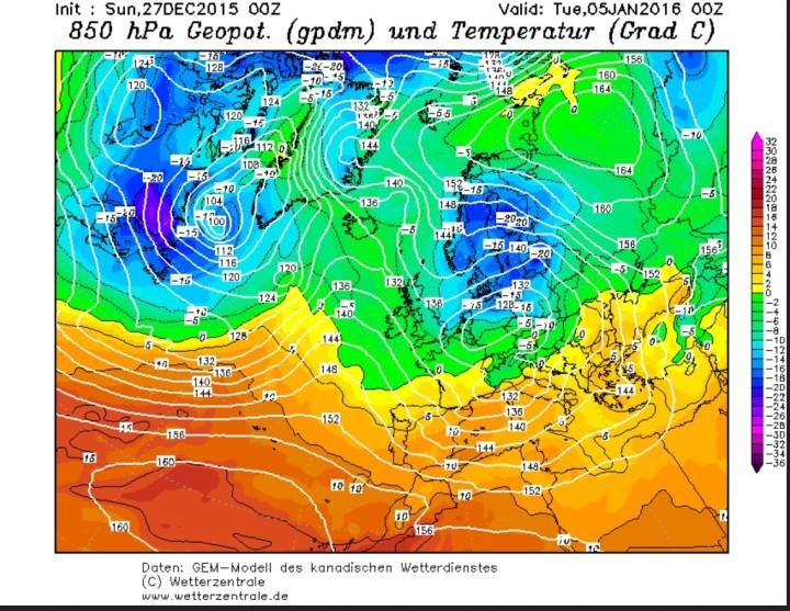 GEM-Prognose der 850 hPa-Temperaturen (1500 m) vom 27.12.2015 für den 4./5.1.2016. Um ein kräftiges Hochdruckgebiet über Nordrussland wird russische Kaltluft nach Mitteleuropa und Skandinavien gesteuert. Quelle: