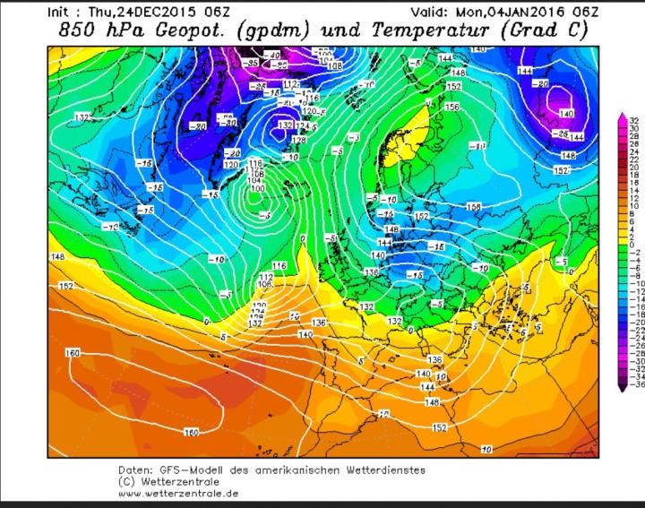GFS-Prognose vom 24. Dezember2015  der 850 hPa-Temperaturen ( 1500 m) für den 4. Januar 2016. Ein Gebiet mit eisigen Temperaturen um -15°C hat sich von Sibirien auf den Weg nach Westen gemacht und liegt über Deutschland. Quelle: