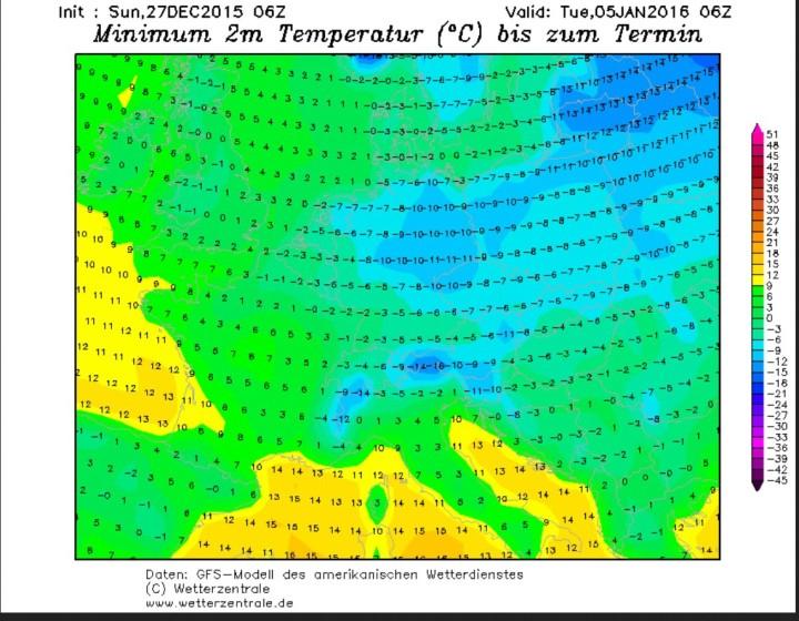 GFS-Prognose der 2m-Temperaturen vom 27.12.2015 für den 4./5.1.2016. Zwischen einem kräftigen Hochdruckgebiet über Nordrussland und einem kräftigen Tief über Südosteuropa wird russische Kaltluft bis zu -25°C über Osteuropa nach Skandinavien und Mitteleuropa gesteuert. Quelle: http://www.wetterzentrale.de/topkarten/fsgemeur.html