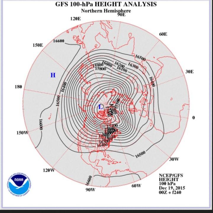 GFS-Stratosphären-Prognose vom 19. Dezember 2015 für den 28./29. Dezember 2015 in 100 hPa (rund 16000 m). Das Zentrum des Polarwirbels ist in Bumertang-Form gestreckt und mpndest in zwei ausgeprägte kalte Tröge über dem Nordatlantik und über Nordsibirien. Mitteleuropa liegt unter hohem Luftdruck in einer milden milden südwestlichen Anströmung. Quelle