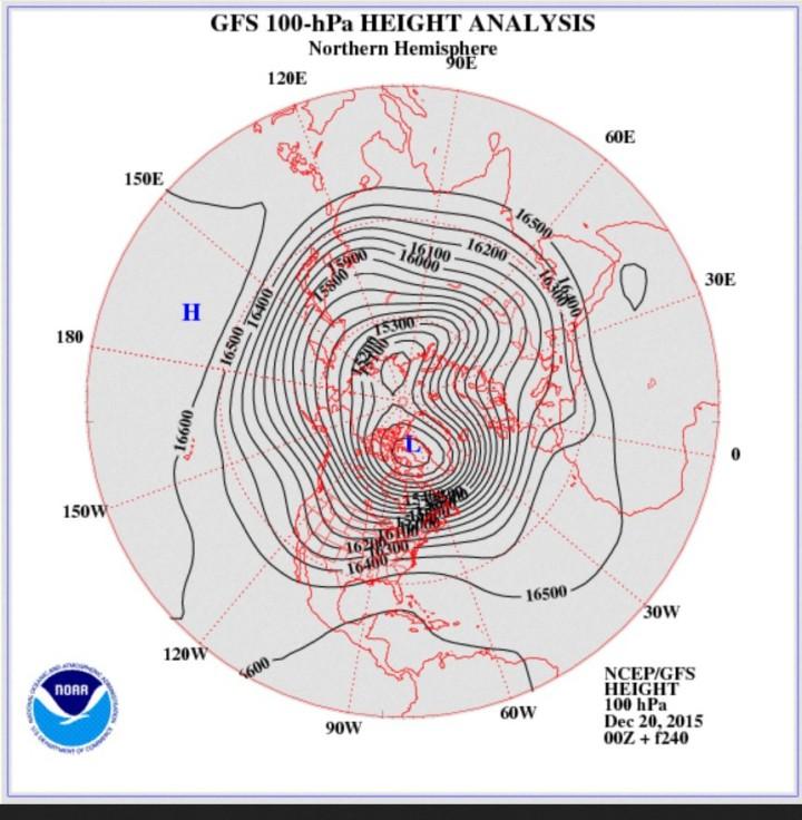 GFS-Stratosphären-Prognose vom 19. Dezember 2015 für den 29./30. Dezember 2015 in 100 hPa (rund 16000 m). Der Polarwirbel hat sich in zwei Teilzentren geteilt und zwei ausgeprägte kalte Tröge über dem Nordatlantik und über Nordsibirien. Mitteleuropa liegt unter hohem Luftdruck in einer milden milden südwestlichen Anströmung. Quelle