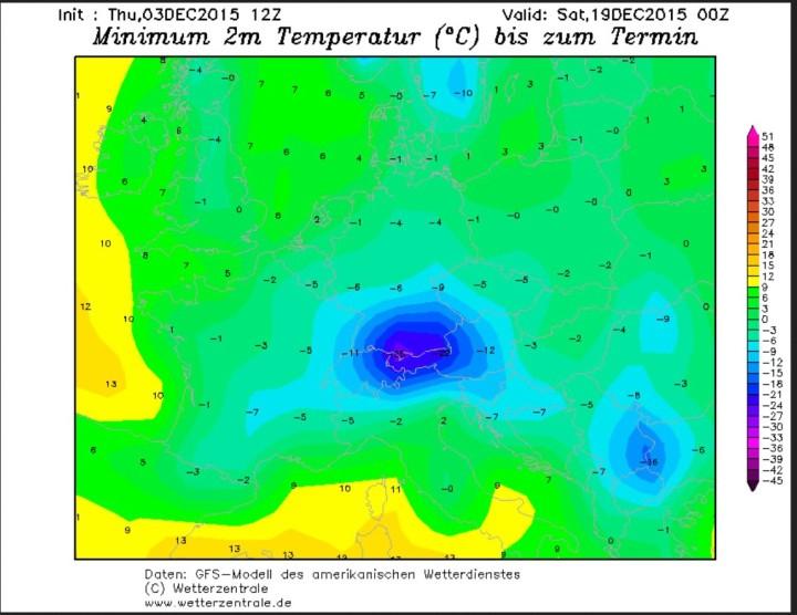 NOAA/GFS-Prognose der 2m-Temperaturen vom 3.12. für den 18./19.12.2015. Bei verbreitetem Frost - nicht nur - in Deutschland werfen am Alpenrtand Temperurten bis unter -20°C gerechnet. Quelle: wie vor