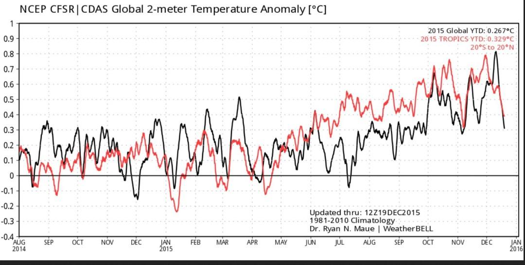 Die Grafik zeigt den Verlauf der Abweichungen der globalen 2 m-Temperaturen und der Tropen zum international üblichen modernen WMO-Klimamittel 1981-2010 vom 1. Januar bis zum 19. Dezember 2015. Nach einem Jahreshöhepunkt Anfang Dezember 2015 gehen die globalen Temperaturabweichungen Mitte Dezember binnen einer Woche um 0,5 K kräftig zurück (schwarze Linie). Die NH (blaue Linie) fällt von 1,2 auf 0,2 K um 1 K. Quelle: http://models.weatherbell.com/temperature.php