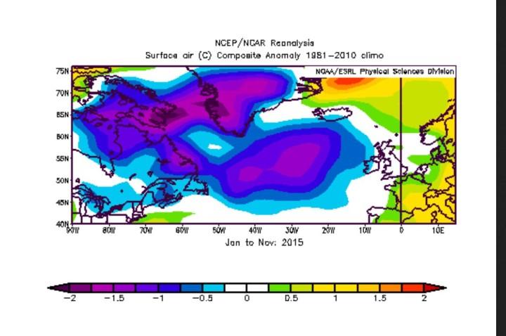 """NOAA-Reanalyse der 2m-Temperatur-Abweichungen zum international üblichen modernen WMO-Klimamittel 1981-2010 im Großraum nördlicher Nordatlantik/Grönland von Januar bis November 2015. Die lila/blauen Farben zeigen die großflächig negativen kalten durchschnittlichen Abweichungen der ersten acht Monate des Jahres 2015. Quelle: http://www.esrl.noaa.gov/psd/cgi-bin/data/composites/printpage.pl"""""""