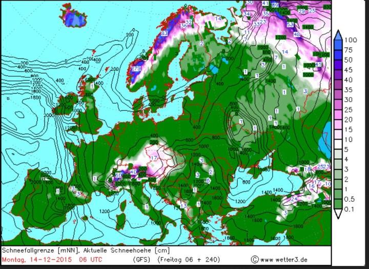 Prognose für Schneefallgrenze und Schneehöhen vom 4.12. für den 14.12.2015. Quelle: